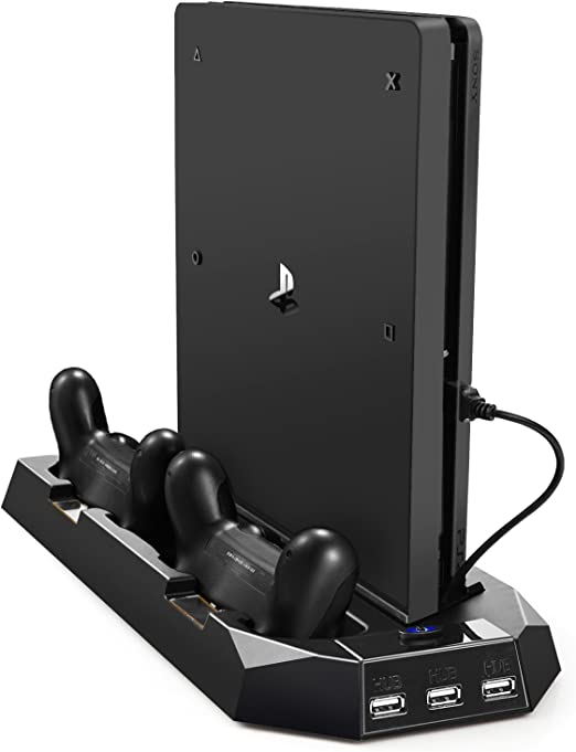Amazon.com: PECHAM Vertical Stand for PS4 Slim / PS4 with Cooling Fan, for Playstation 4/Slim Console, Dual Controller Charge Station, 3 HUB Port (Not for Pro): Computers & Accessories