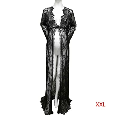 Harmily Woman Lace Slit Loose Photography Clothes Maternity Dress Skirt Robe