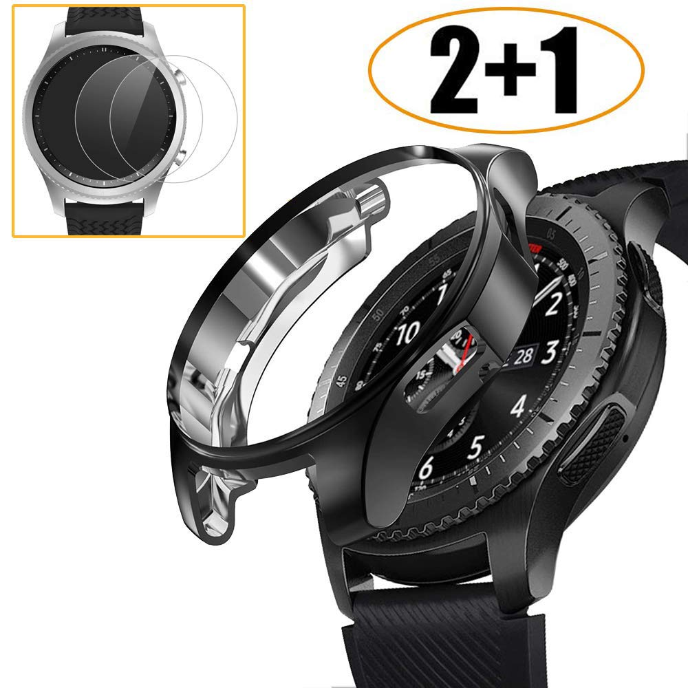 [2+1 Pack] Compatible Samsung Galaxy Watch 46mm/ Gear S3 Case Cover with Screen Protector, Soft TPU Plated Protective Bumper Shell + Tempered Glass Screen Protector Film for Gear S3 Frontier/Classic by Miimall