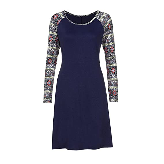 ZIYOU Blusenkleid Damen, Frauen Beiläufige Geometrie Gedrucktes Lange  Hülsen Tank Tops T-Shirts Kleid 644bcc8398