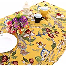 """UniTendo Pastoral Countryside Style Linen Cotton Table Cloths/Table Cloth with Delicate Blooming Floral and Lively Birds Design,Yellow,55""""x86"""""""