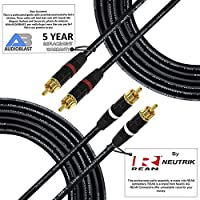 40 Foot RCA Cable Pair - Audioblast HQ-1 - Ultra Flexible - Dual Shielded (100%) High-Definition Audio Interconnect Cable and Neutrik-Rean NYS Gold RCA Connectors (2 cables, each 40 Foot long)