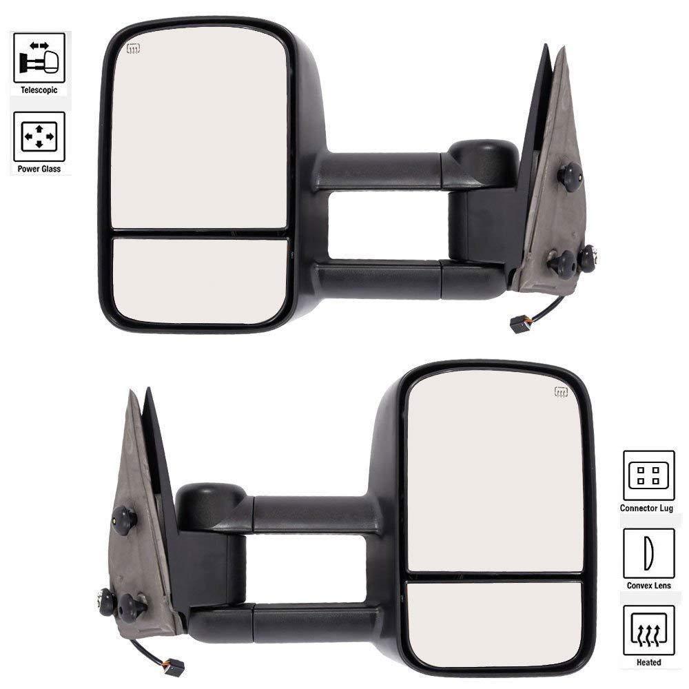 tow mirrors for 1999 2000 2001 2002 chevrolet chevy gmc silverado  sierra 1500 2500 3500 tahoe yukon pickup power heated towing mirrors pair  manual
