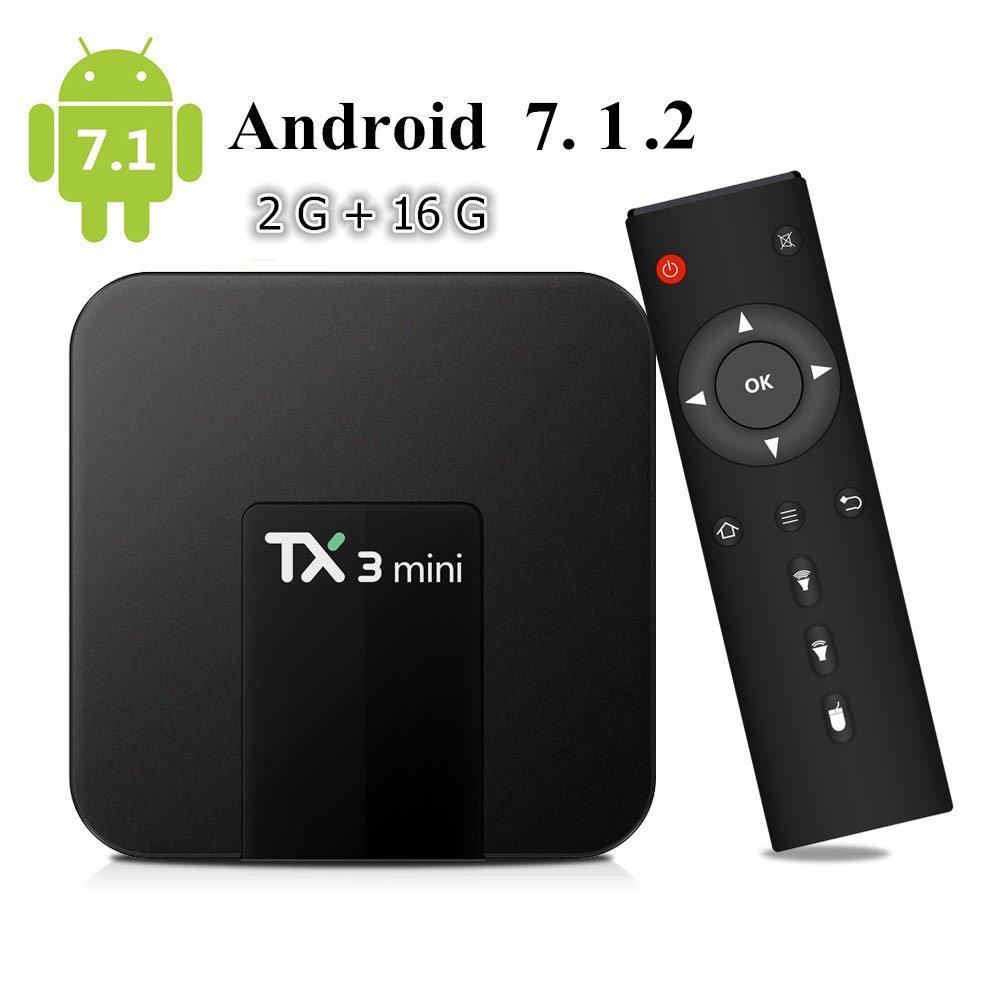 Android Box, Android 7.1 TV Box TX3 Mini 2GB Ram 16GB ROM Amlogic S905W Quad Core 64 Bits WiFi Smart 4K TV Box pendoo