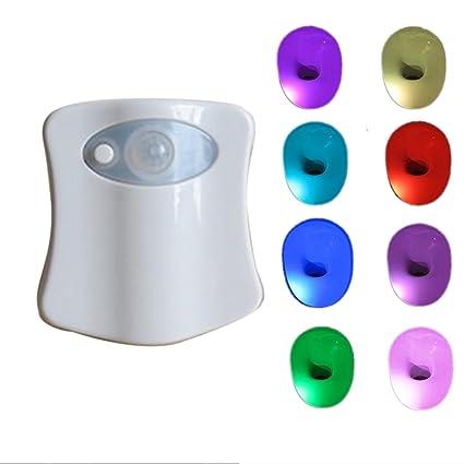 Asiento para inodoro con tapa y Sensor de movimiento luz baño luz LED de 8 colores