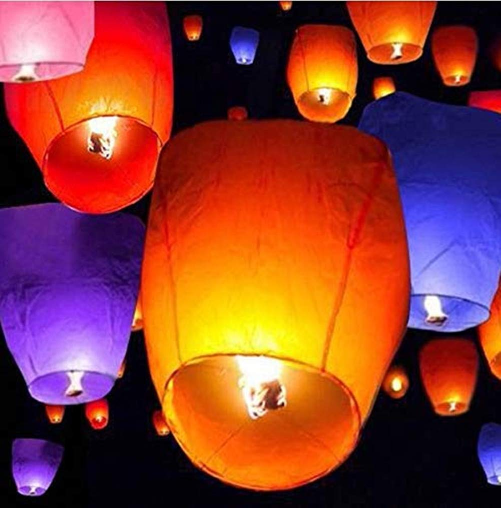 MEIHONG 20Pcs Colorful Chinese Lanterns KongMing Lantern Flying Wishing Lamp, Sky Fly Candle Lamp for Wish, Birthdays, Ceremonies, Weddings Party, Memorial Day by MEIHONG