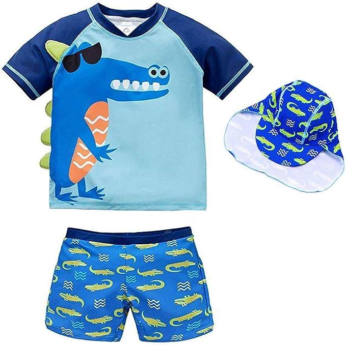 Boys Two Piece Rash Guard Swimsuits Kids Short Sleeve Sunsuit Swimwear Sets