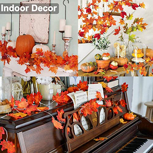 10 Pack Fall Garland Thanksgiving Decor Total 80 FT Artificial Silk Maple Leaf Garland Maple Leaves Ivy Vine Hanging Halloween Garland Autumn Garland for Wedding Garden Party Table Decoration