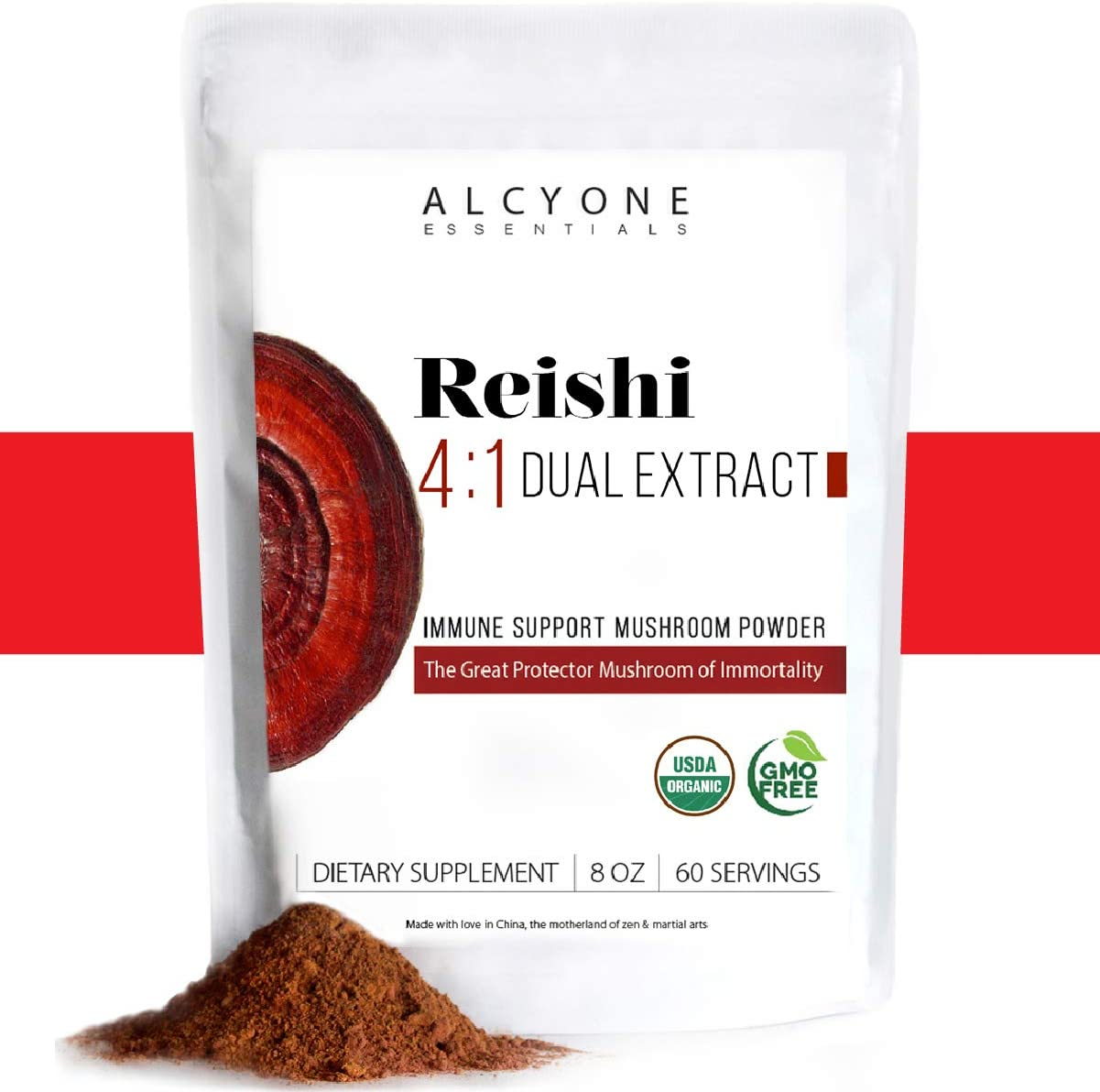 ORGANIC Red Reishi Mushroom Powder – 4 1 DUAL Extract Large 8oz Fruiting Body by Alcyone Essentials, Coffee and Tea Enhancer, Water Soluble Antioxidant Immune Booster, Calm Focus, Add to your Smooth
