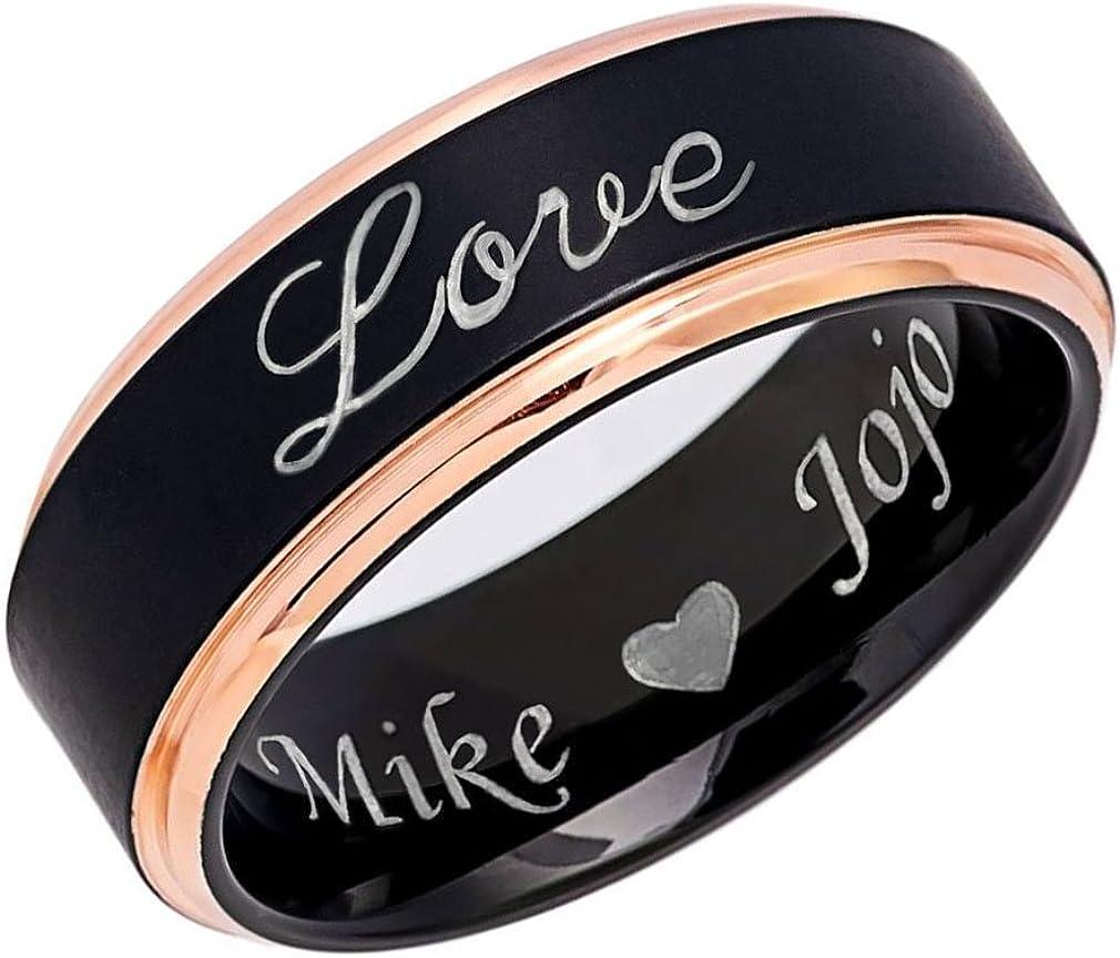 Personalized Titanium Wedding Ring Bride /& Groom Ring Comfort Fit Wedding Band 8mmTitanium Ring