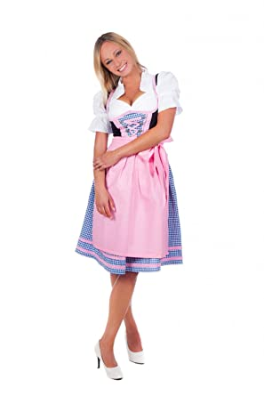 Trachtenhandel Mini Dirndl 3-Tlg. Blue Checkered Pink Trim With Matching Blouse And Apron