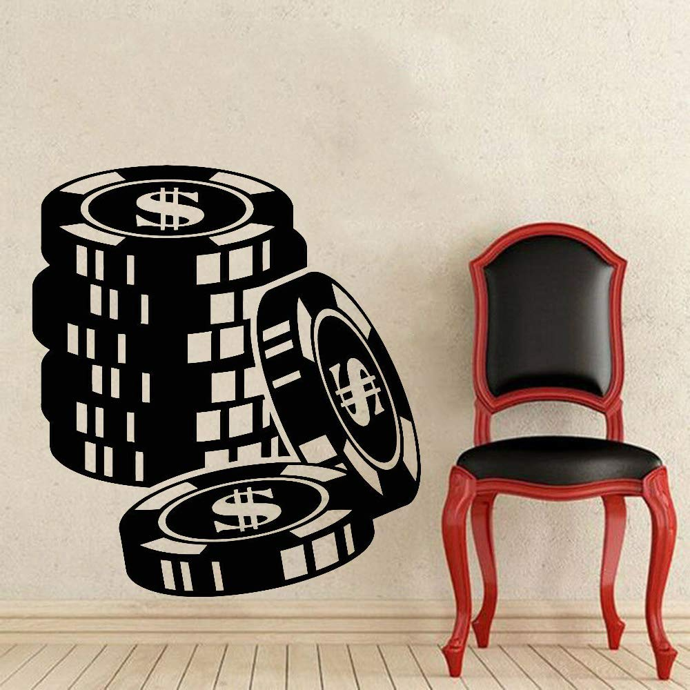Zhuhuimin Gambler Chips Vinilo Tatuajes de Pared Dormitorio Poker ...