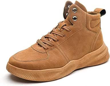 Men's Shoes-Ankle Boots for Men Sport Casual Shoes Lace up Round Toe Faux Suede Solid Colour Thick Bottom Soft Fleece Lining Vegan Anti-Slip Leisure (Color : Beige, Size : 40 EU)