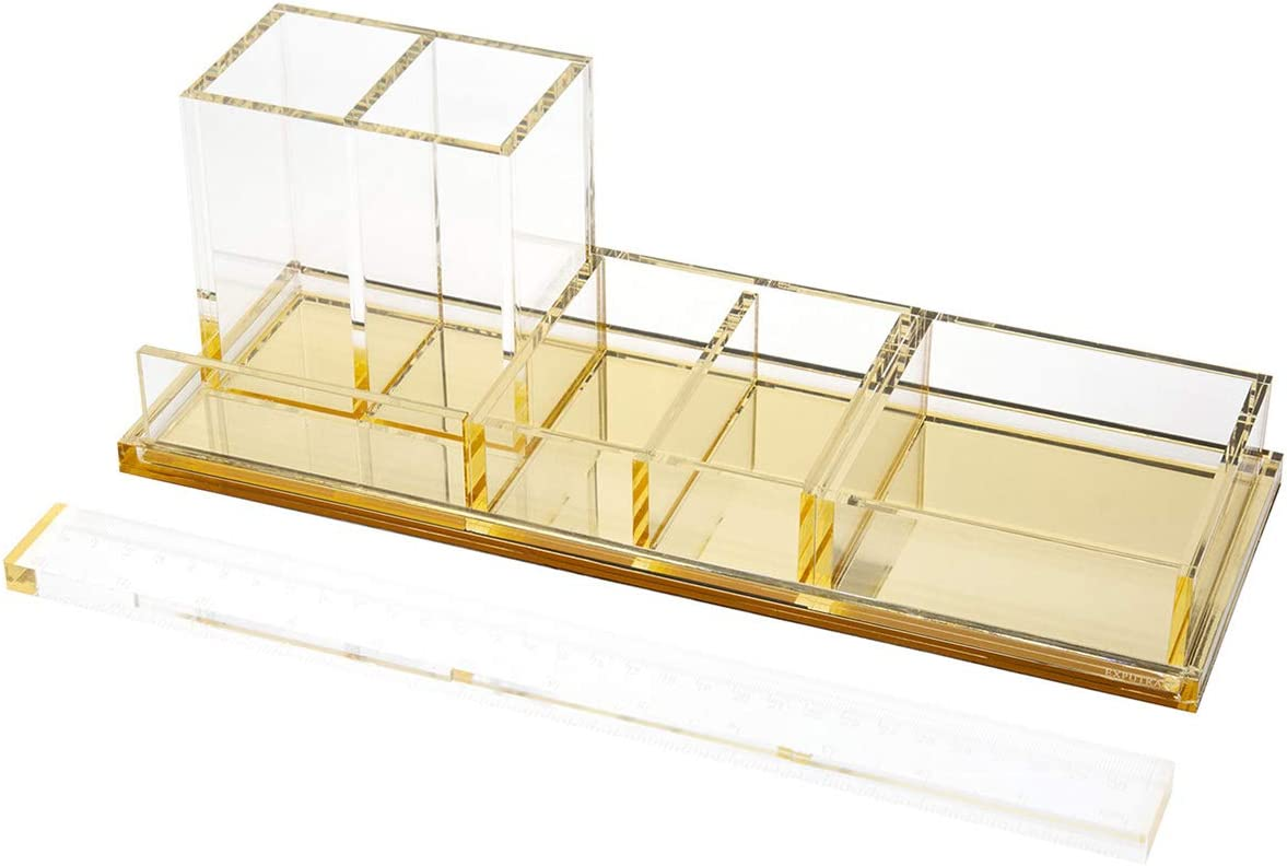 EXPUTRAN Acrylic Desk Organizer 4-Piece Desk Kit + Free Complimentary Acrylic Ruler, Desktop Organization for Office or Home (Gold)
