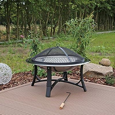 CLGarden FS2 Brasero Barbacoa Jardín de Acero Inoxidable con Rejilla Protectora Parrilla Cuenco Diámetro de 76cm, Tazón de Fuego jardín: Amazon.es: Jardín