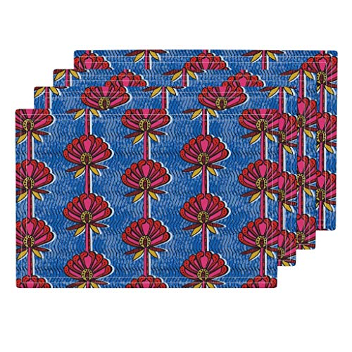 Roostery African 4pc Linen Cotton Canvas Cloth Placemat Set - Boho Floral African African Print Africa Dutch Wax Batik Bold Floral by Charlottewinter (Set of 4) 13 x 19in ()
