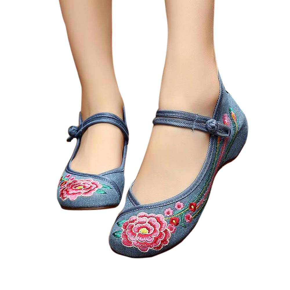 Embroidered Chinese Shoes Women's Embroidery Flowers Style Comfortable Beige Flats(9 B(M) US/CN42/26CM,Blue)