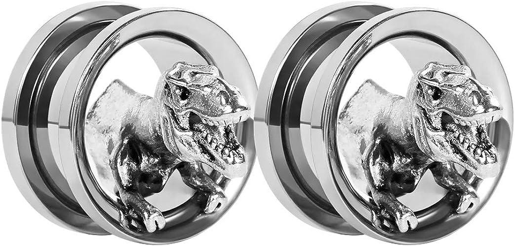 LIZD Tyrannosaurus Flesh Tunnel Ear Gauge Stretcher Plug Jewelry Rainbow 3D Dinosaur