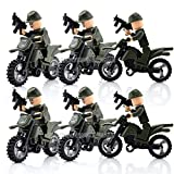 gonggamtop Lot of 6 WW2 Moto Army sets Minifigure motorcycle Military Building Brick Toys