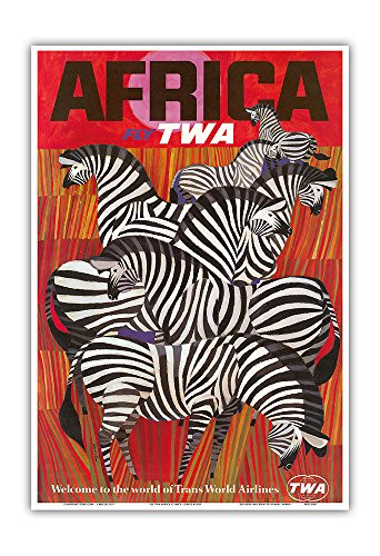 Pacifica Island Art Africa - Trans World Airlines Fly TWA - Zebras - Vintage Airline Travel Poster by David Klein c.1960s - Master Art Print - 13in x 19in