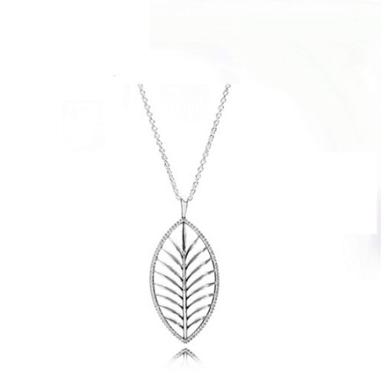 MMC Silver Necklaces Plant Brown LAN Leaves Womens Pendants