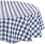 Kane Home Products Eco Vinyl Tablecloth, Blue Check, 60-Inch Round
