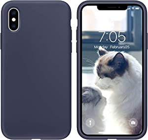 OUXUL Case for iPhone X/iPhone Xs 5.8 inch Liquid Silicone Gel Rubber Phone Case, Full Body Slim Soft Microfiber Lining Cushion Shockproof Protective Case (Midnight Blue)