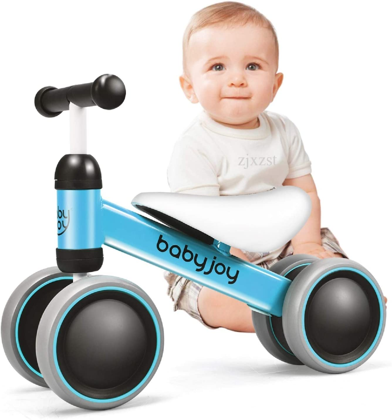 BABY JOY Baby Balance Bikes, Baby Bicycle, Children Walker Toddler Baby Ride Toys for 9-24 Months, Ride-on Toys Gifts Indoor Outdoor for 1 Year Old, No Pedal Infant 4 Wheels Bike (Blue): Toys & Games