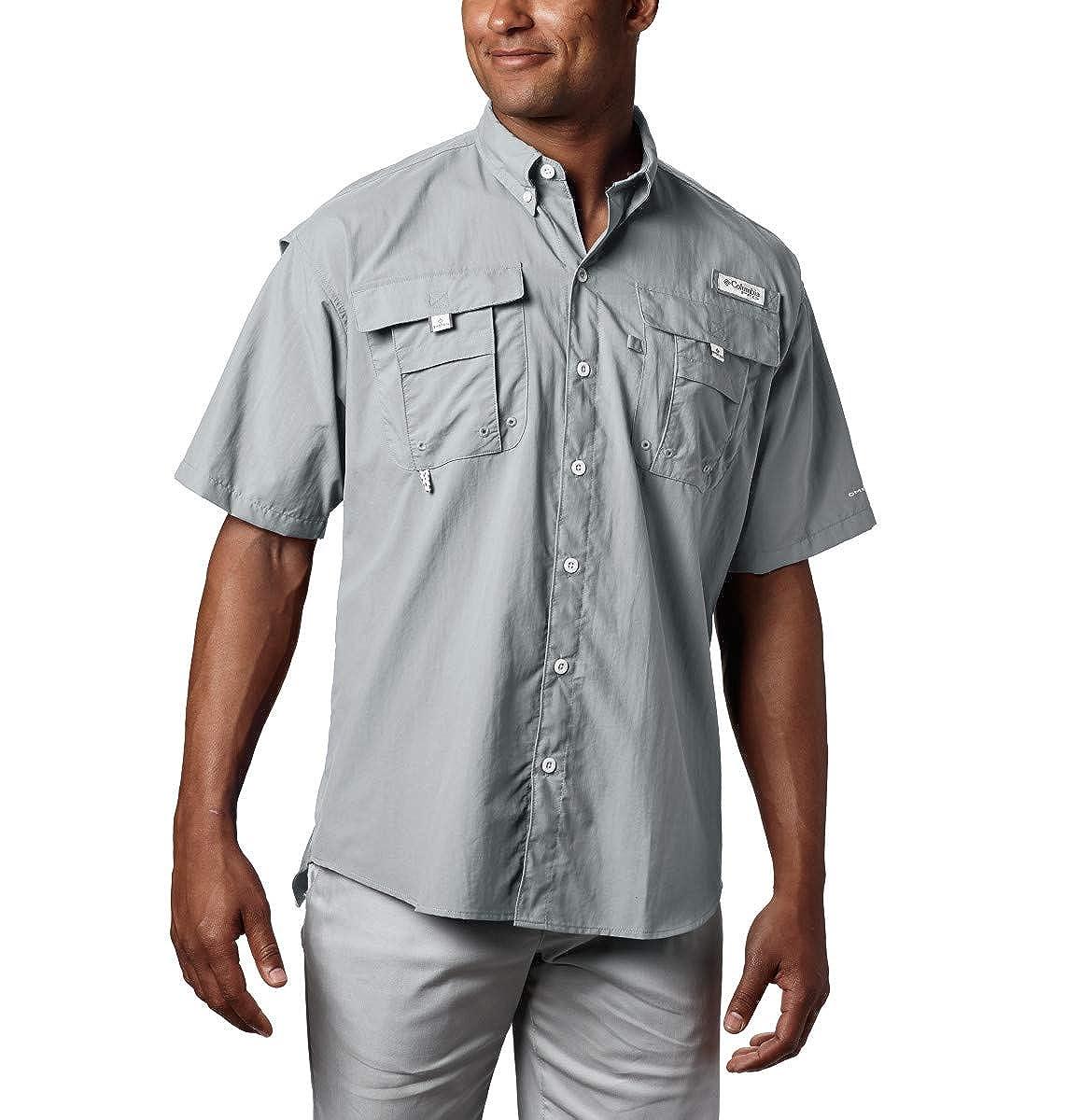 Columbia Men's PFG Bahama II Short Sleeve Shirt, Cool Grey, Large