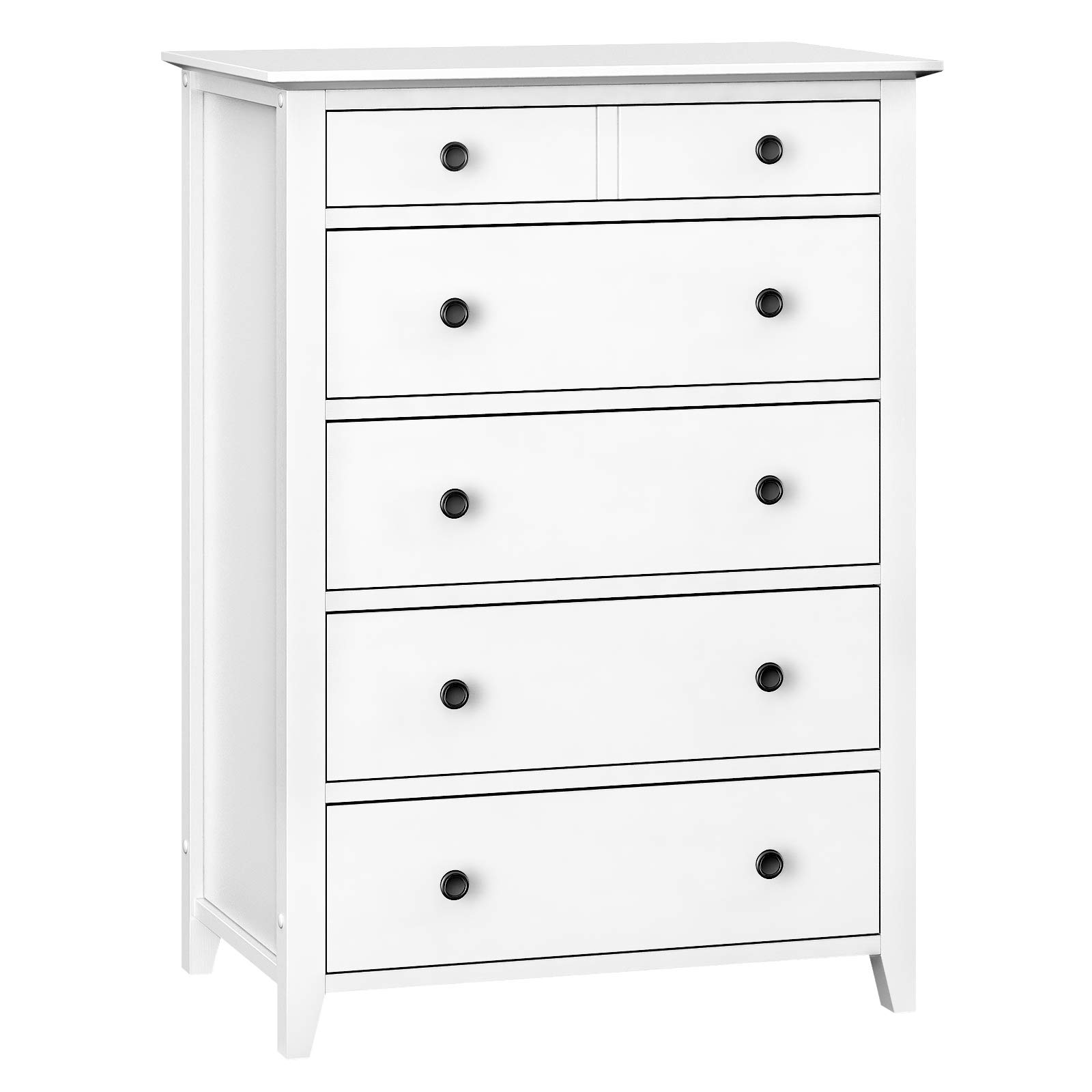 VASAGLE Chest of Drawers, 5-Drawer Dresser with Solid Wood Frame, Storage Unit for The Bedroom, Living Room, Kid's Room, with Antique-Style Handles, Easy Installation, White URCD01WT by VASAGLE