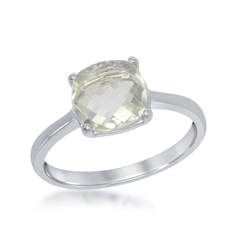 Sterling Silver Cushion-Cut Green Amethyst Gemstone Ring