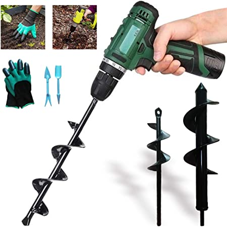 Earth Auger Bit Auger Drill Bit Set for Gardening Planting Garden /& Bedding Hole Drill Tool 12 and 9 Inch Spiral Drill Bit Rapid Planter Bulb Seedlings