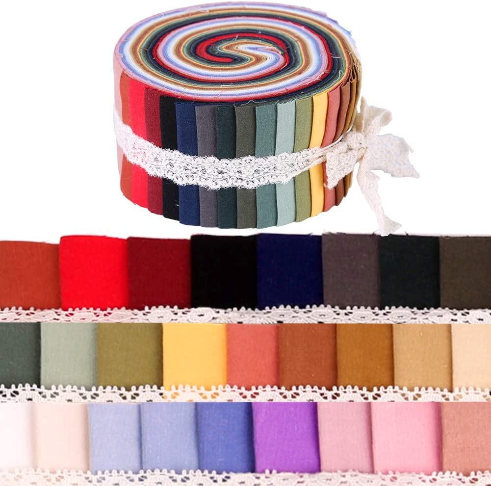 Quilting Fabric with Different Patterns Patchwork for Crafting Patchwork Craft Cotton Quilting Fabric Jelly Roll Fabric Strips for Quilting 26 Pcs Fabric Jelly Rolls