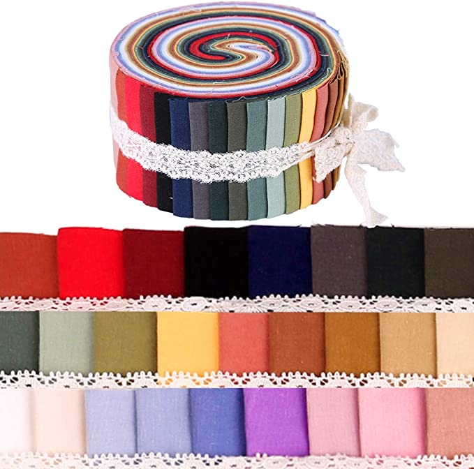 Patchwork for Crafting Jelly Roll Fabric Strips for Quilting Quilting Fabric with Different Patterns Patchwork Craft Cotton Quilting Fabric 40 Pcs Fabric Jelly Rolls