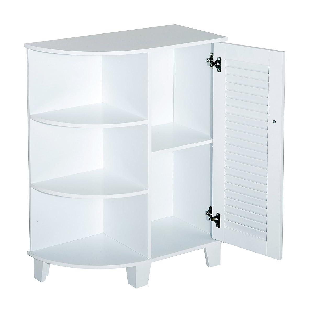 """HomCom 32"""" Floor Cabinet with Shutter Door and Side Shelves - White"""