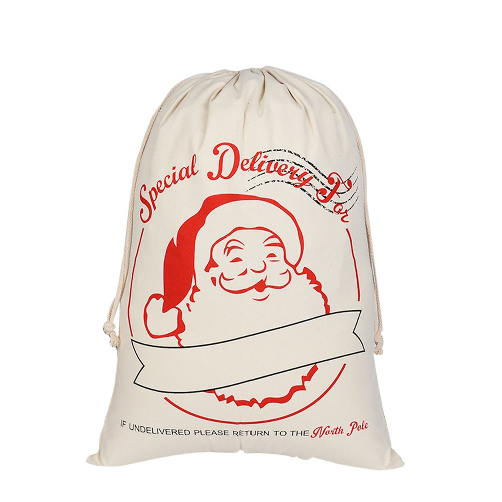 VORCOOL Santa Claus Bag Christmas Canvas Bag Festival Fabric Bag Fabric Gifts Bag(HK-13)