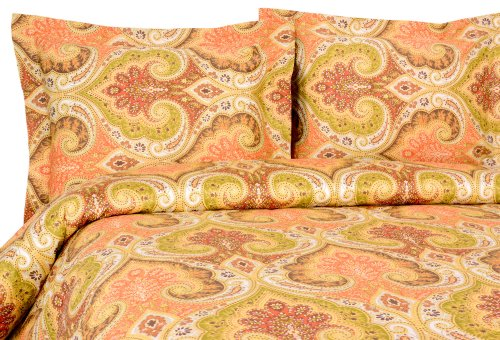 Elite Home Products Milano Paisley Collection 300 Thread Count Sateen 2-Piece Duvet/Sham Set, Twin, Gold
