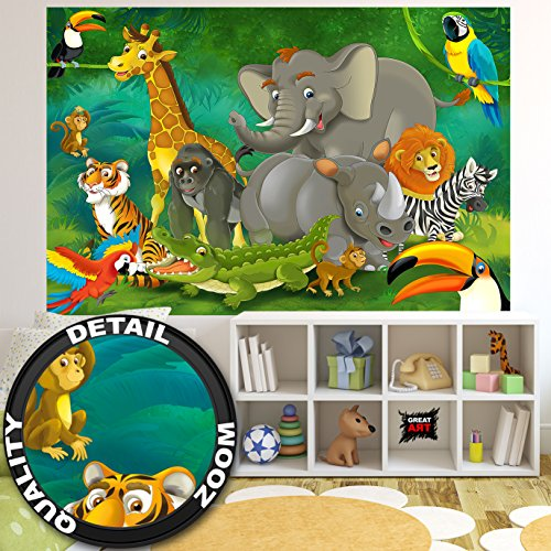 GREAT ART Wall Mural Kid's Room Jungle Animals Design- Childrens Decoration Zoo Poster Safari Adventure Tiger Lion Elephant Monkey (82.7x55 Inch)