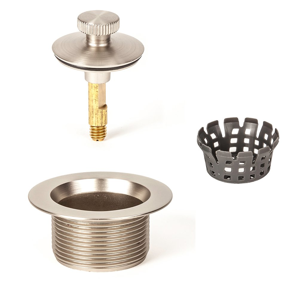 PF WaterWorks Lift Turn (Twist Close) Bathtub/Bath Tub Drain Assembly with Gasket - Coarse Thread 11.5 Threads Per Inch - FREE Hair Catcher/Strainer to Eliminate Clogs;Brushed Nickel; PF0945-BN-LT-C
