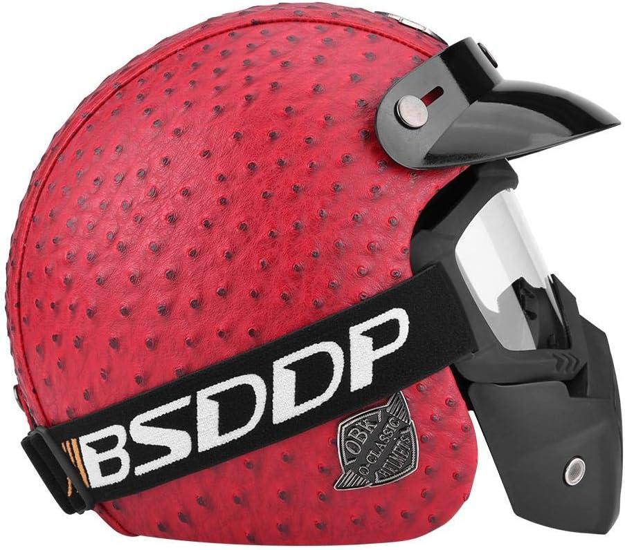 casco e occhiali con visiera per scooter moto universale in finta pelle Casco da moto