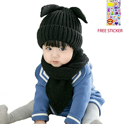 2pcs Baby Winter Hat Scarf Set Infant Toddler Baby Girls Boys Knit Warm Cap    Scarf b8c82f3b97ef