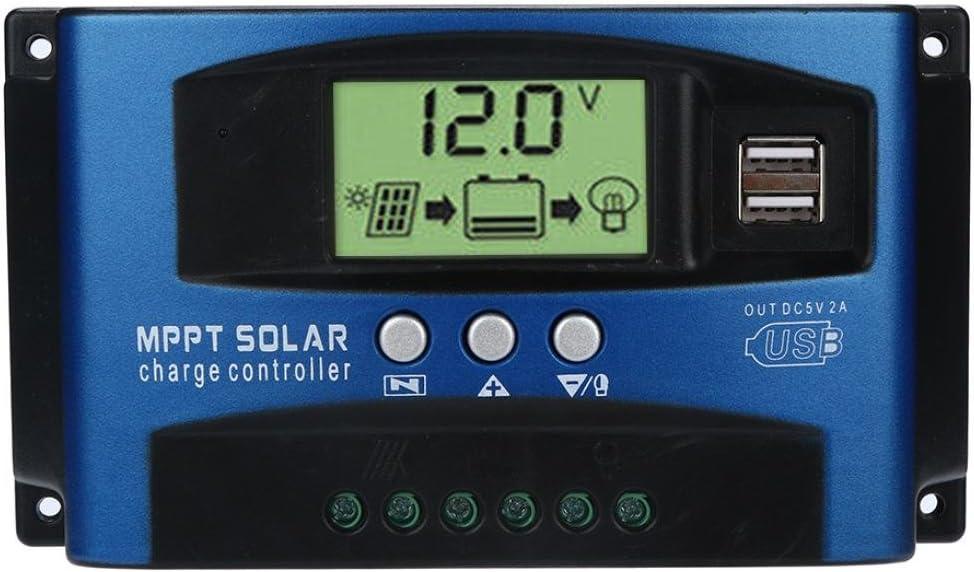 Fossrn MPPT Regulador de Carga 40A / 50A / 60A / 100A Regulador de Paneles solares Controlador de Carga de Inteligente 12V / 24V Auto Seguimiento de Enfoque (60A)