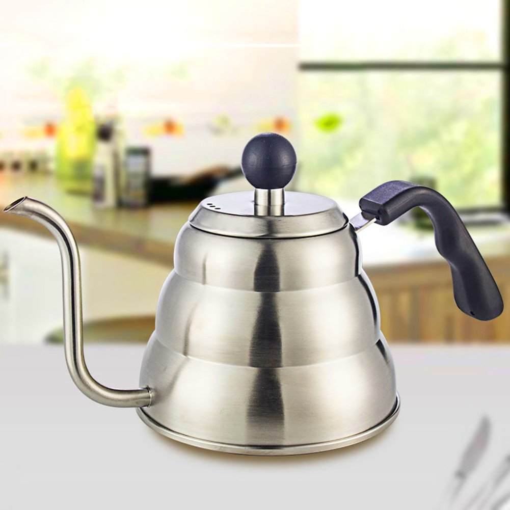 Coffee Pot,1L Silver Stainless Steel Long Mouth Coffee Pot Vintage Drip Kettle with Plastic Ergonomic Handle,30cm Total Length by yodaliy