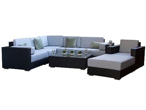 Siena nero rattan moderno esterno giardino divano ad angolo, con ...