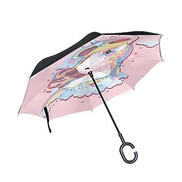FOLPPLY Paraguas invertido Lindo de Unicornio maigico, Doble Capa reversa Paraguas Impermeable para Coche Lluvia
