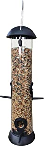16 Inch Hanging Bird Feeders for Outside, Premium Plastic and Metal Tube Bird Feeder Weatherproof Garden Automatic Bird Seed Feeder with 4 Feeding Ports for Yard Outdoor Decoration-16 inch