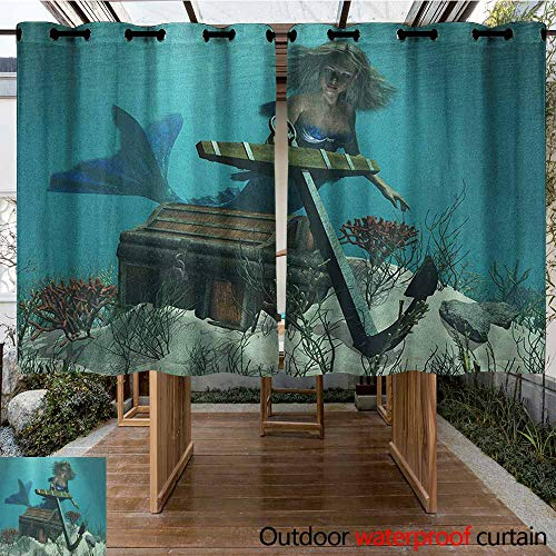 - AndyTours Outdoor Blackout Curtain,Mermaid,Mermaid in Ocean Sea Discovering Pirates Treasure Chest Mythical Art Print,for Patio/Front Porch,K140C115 Azure Brown Cream