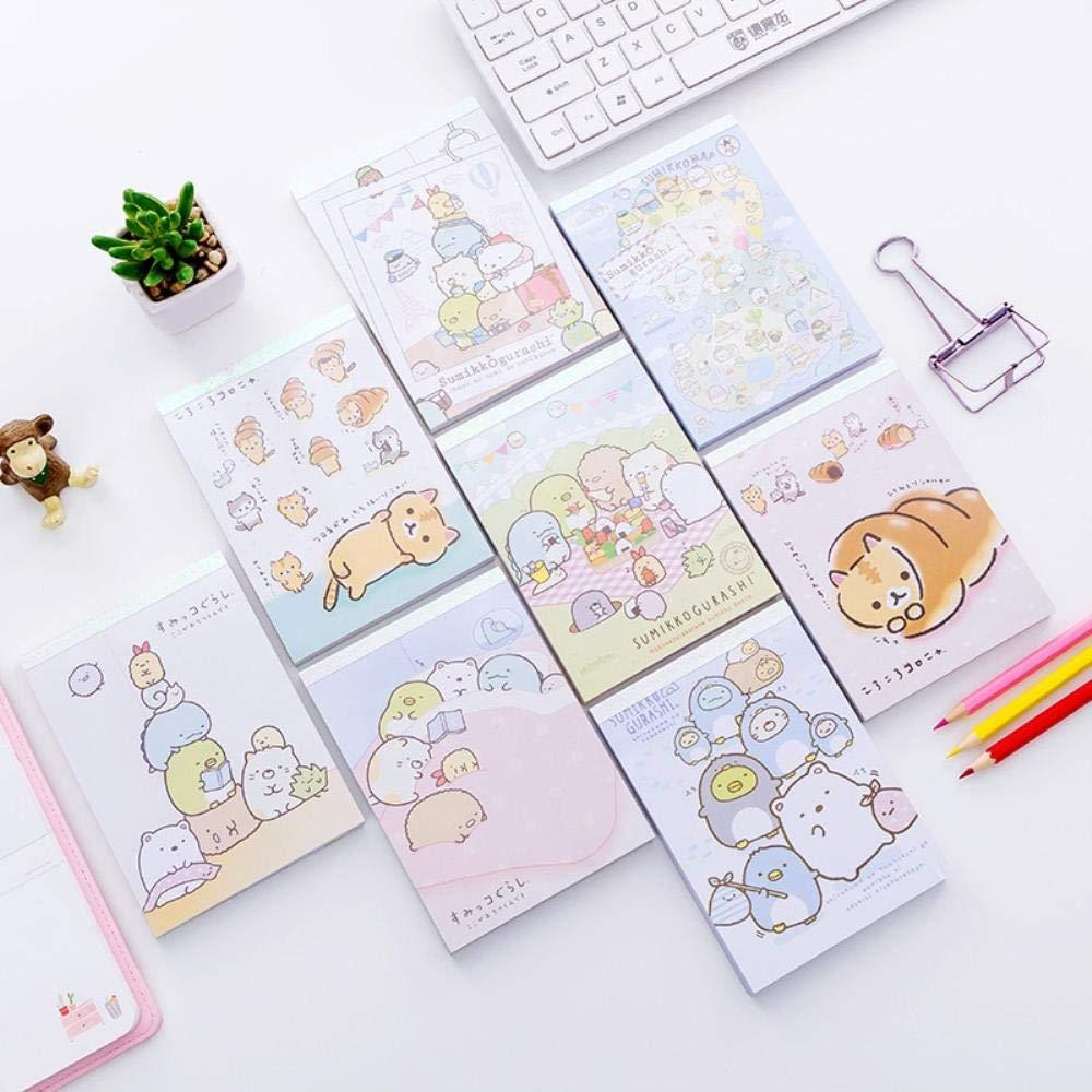8 pcs/Lot Cartoon notebook diary book Cute Sumikko gurashi sticker memo pad planner gift Kawaii Stationery supplies