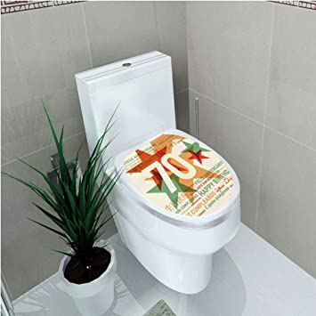 Toilet Cover Decoration70th Birthday DecorationsWorld Global Congrats With Abstract Stars