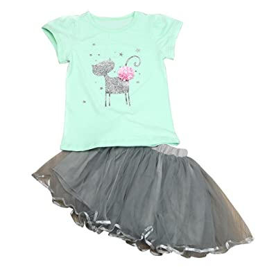 b8dfa89d8ac6e Clode for 1-6 Years Old Girls Fashion Toddler Baby Kids Girls Clothes  Pattern T Shirt Tops and Skirt Short Dress 1Set Summer Dress Outfit
